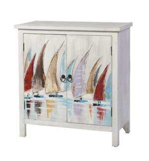 SKYLAR HAND PAINTED CABINET | 32in X 32in X 15in | Coastal Design Hand Painted Two Door Cabinet