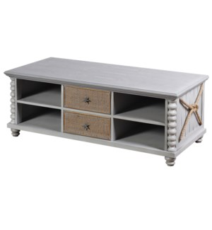 MONTAUK CABINET | 20in X 46in X 22in | Montauk Inspired Two Drawer Cabinet with Caning and Rope Feat