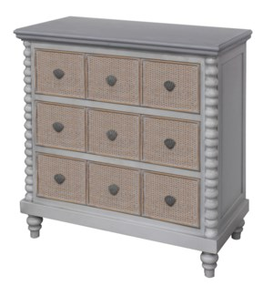 MONTAUK CHEST | 30in X 34in X 16in | Montauk Inspired Three Drawer Chest with Caning and Rope Featur