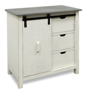 SAVANNAH SLIDING DOOR CABINET | 35in X 32in X 17in | Modern Farmhouse Three Drawer Cabinet Featuring