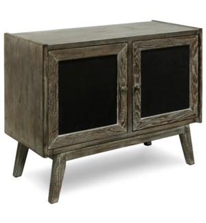 BIRCHWOOD CABINET | 32in X 40in X 17in | Gray Birchwood Veneer Two Door Cabinet. Mid-Century Modern