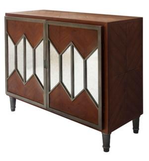 AURORA CHEST   34in X 40in X 16in   Modern Two Door Cabinet Featuring Mirror Accented Doors