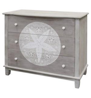 SAND DOLLAR CABINET | 34in X 41in X 18in | White Wash Coastal Inspired Cabinet.  Three Drawer Dresse