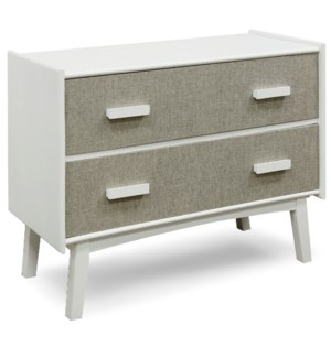 NORA CABINET | 32in X 40in X 17in | MCM Burlap Covered Two Drawer Chest