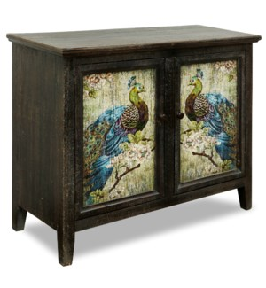 PEACOCK CABINET | 34in X 42in X 16in | Printed Motif Two Door Cabinet with Colorful Peacock Design