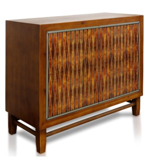BROOKLYN CABINET | 34in X 41in X 17in | Faux Inlay Wooden Cabinet with Two Patterned Doors
