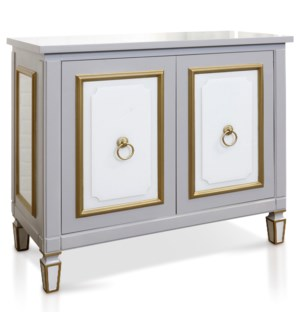 CHARLOTTE GRAY CABINET | 36in X 42in X 19in | Gray Glass Two Door Cabinet with Knocker Hardware