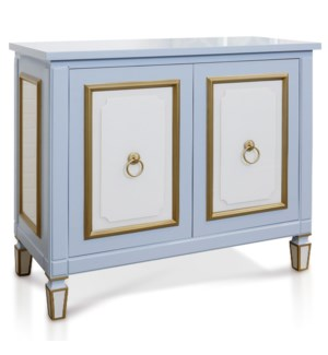CHARLOTTE BLUE CABINET | 36in X 42in X 19in | Blue Glass Two Door Cabinet with Knocker Hardware