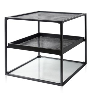 INDUSTRY TIER TABLE | 20in w. X 22in ht. X 20in d. | Black Metal Three Tier Accent Side Table with O