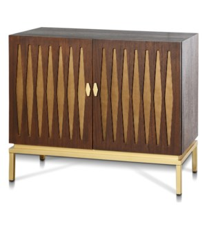 RYKER CABINET | 38in w. X 32in ht. X 17in d. | Mid Century Modern Two Door Cabinet in Chestnut Brown