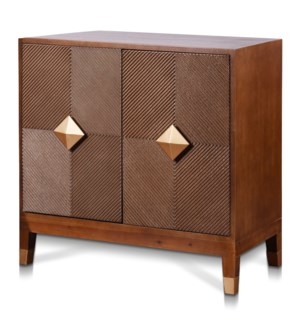 MAXWELL CABINET | 39in w. X 36in ht. X 18in d. | Vector Two Door Cabinet in Tobacco Brown Finish wit