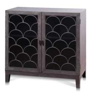 SCALEY CABINET | 38in w. X 36in ht. X 17in d. | Two Door Cabinet Made of Ash Veneer in Light Taupe G