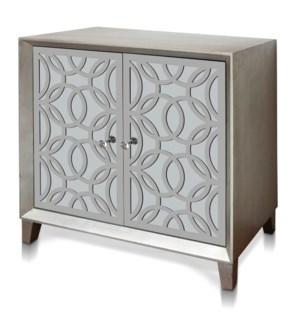 SOPHIE CABINET | 32in w. X 32in ht. X 16in d. | Two Door Cabinet with Laser Cut Stainless Steel Over