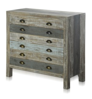 SEAMOORE CHEST | 34in w. X 32in ht. X 15in d. | Painted Finish Three Drawer Sea Blue Cabinet made of