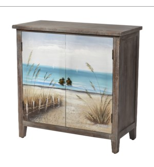 MAUI CABINET | 32in w. X 32in ht. X 15in d. | Coastal Two Door Cabinet in Driftwood Gray with Hand E