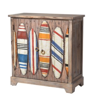 FINNSBOARD CABINET | 33in w. X 34in ht. X 15in d. | Coastal Two Door Cabinet in Driftwood Gray with