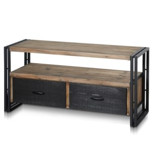 CALVIN MEDIA CENTER | 44in w. X 22in ht. X 16in d. | Two Drawer Media Cabinet in a Two Tone Gray and