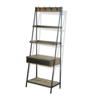 CAMDEN MULTI CENTER | 29in w. X 72in ht. X 17in d. | Four Shelf Display Unit with Desk and Drawer in