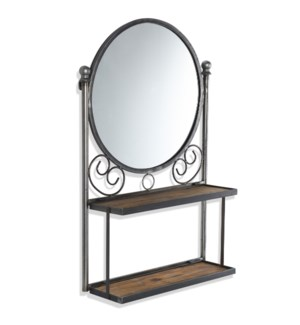 VALENTINA WALL UNIT | 21in w. X 34in ht. X 7in d. | Round Wall Mirror with Folding Shelves made of F