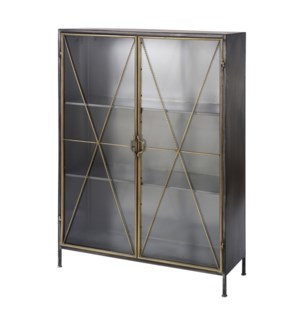 RICHARD CARTER CABINET | 38in w. X 54in ht. X 15in d. | Metal Display Cabinet in a Gun Metal Finish