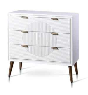 MILO CHEST | 32in w. X 32in ht. X 15in d. | Three Drawer Chest in Satin White Finish with Fluted Dra