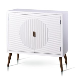 MILO CABINET | 32in w. X 32in ht. X 15in d. | Two Door Cabinet in Satin White Finish with Fluted Dra