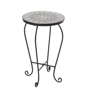 PALEO PLANT STAND | 14in w. X 23in ht. X 14in d. | Plant Stand with Hand Cut Stone Mosaic Top and Bl
