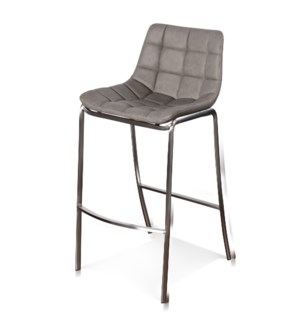 LIGHT TUFTS | 20in w X 41in ht X 22in d |  Gray Bar Stools with Stainless Steel Legs