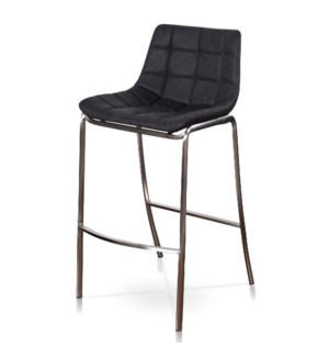 LIGHT TUFTS | 20in w X 41in ht X 22in d |  Black Bar Stools with Stainless Steel Legs