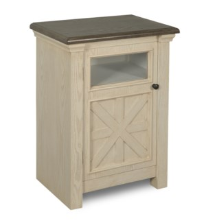 ANTIQUE WHITE | 28ht X 20w X 13d | Farmhouse Single Door Side Table with Clear Glass Window & Dark G
