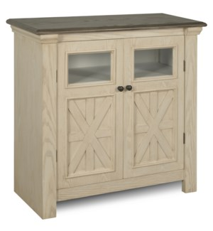 ANTIQUE WHITE | 32ht X 32w X 14d | Farmhouse Two Door Cabinet with Two Clear Glass Windows & Dark Gr
