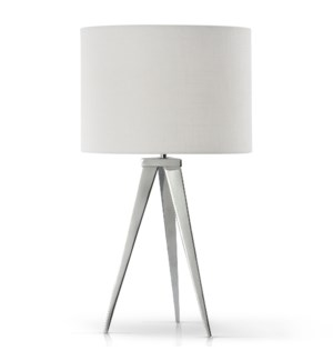 CHROME | Contemporary Sleek Design Tri-Pod Metal Structure Table Lamp | 14in w X 25in ht X 14in d |