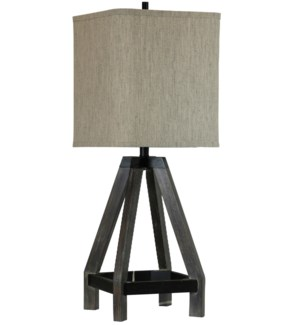 GRAY STAIN & BLACK | Wood Table Lamp with Square Hardback Shade | 12in w X 33in ht X 12in d | 150 Wa
