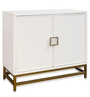 WHITAKER TWO DOOR CABINET | 38in w X 35in ht X17in d | Winter White Body with Shell Handles Brass Le