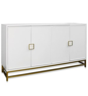 WHITAKER FOUR DOOR CABINET | 72.25in w X 40in ht X 19in d | Winter White Body with Shell Handles Bra