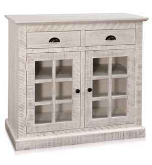 TWO DOOR TWO DRAWER CABINET | 38in w X 36in ht X 17in d | White Washed Glass Front Cabinet Two Doors