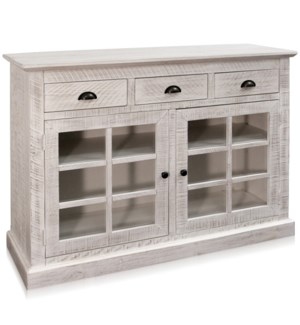 TWO DOOR THREE DRAWER CABINET | 50in w X 36in ht X 17in d | White Washed Glass Front Cabinet with Th