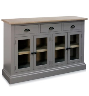FOUR DOOR THREE DRAWER CABINET | 47.5in w X 32in ht X 13.5in d | Stone Blue Finish with Natural Wood