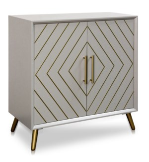 2 DOOR CABINET | 32in w X 34.5in ht X 16in d | Air Force Blue Body With Gold Inlay and Hardware