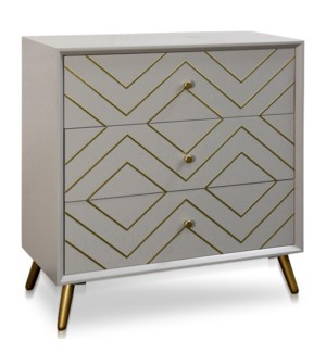 3 DRAWER CABINET | 32in w X 34.5in ht X 16in d | Air Force Blue Body With Gold Inlay and Hardware