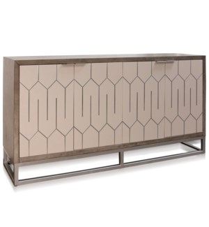 FOUR DOOR SIDE BOARD | 72in w X 39.5 ht X 19in d | Solid Wood Sideboard Stained Gray with Abalone Do