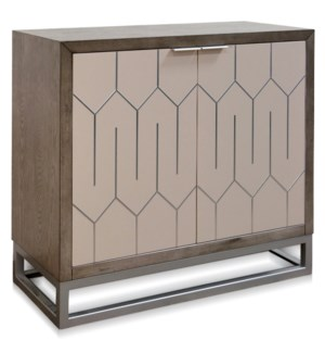 TWO DOOR SIDE BOARD | 17in w X 37 ht X 38in d | Solid Wood Sideboard Stained Gray with Abalone Doors