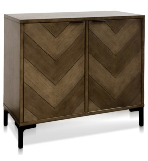 CHEVRON TWO DOOR CABINET | 17in w X 35in ht X 38in d | Solid Wood Chevron Two Door Cabinet in Cool T