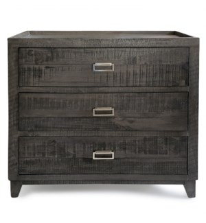 ANAHEIM   Wooden Three Drawer Chest with Brushed Aluminum Hardware   36in w X 34in ht X 18in d