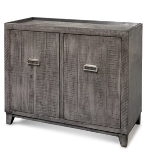 ANAHEIM   Wooden Two Door Cabinet with Brushed Aluminum Hardware   38in w X 34in ht X 18in d