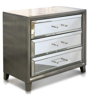 KHASI SILVER & MIRROR   Three Drawer Mirrored Accent Chest   29in w X 32in ht X 16in d