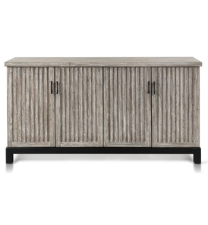ANTIQUE WHITE WASH   Four Door Sideboard With Vertical Detail on Front and Metal Base   66in w X 38i