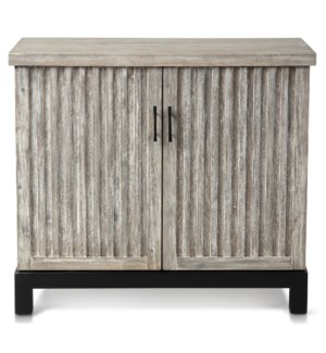 ANTIQUE WHITE WASH   Two Door Accent Cabinet with Vertical Detail on Front and Metal Base   38in w X