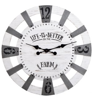 Life is Better on the Farm | Traditional Farmhouse Wood and Galvanized Metal Wall Clock | Built in H