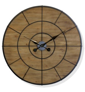 Target Time | Transitional Industrial Natural Wood and Metal Frame Wall Clock | Built in Hanging Har